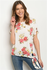 C64-A-4-T9069 OFF WHITE FLORAL TOP 2-2-2