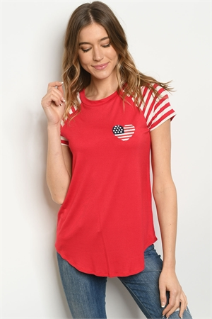 "C22-A-2-T4379 RED ""HEART FLAG"" EMOBROIDERY TOP 2-2-2"