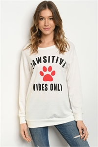 "C67-B-2-T51722 OFF WHITE ""PAWSITVE"" PRINT TOP 2-2-2-1"