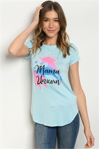 "C73-B-1-T4497 BLUE ""MAMA UNICORN"" PRINT TOP 1-2-2-1"