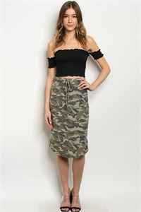 C81-B-1-S2519 OLIVE CAMOUFLAGE SKIRT 3-2-2-1