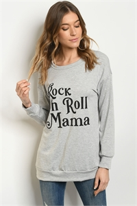 "S18-11-3-T51542 GRAY ""ROCK 'N ROLL MAMA"" PRINT TOP 3-2-2-1"