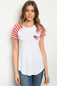 C2-B-2-T4379 WHITE WITH HEART FLAG EMBROIDERY TOP 2-2-2
