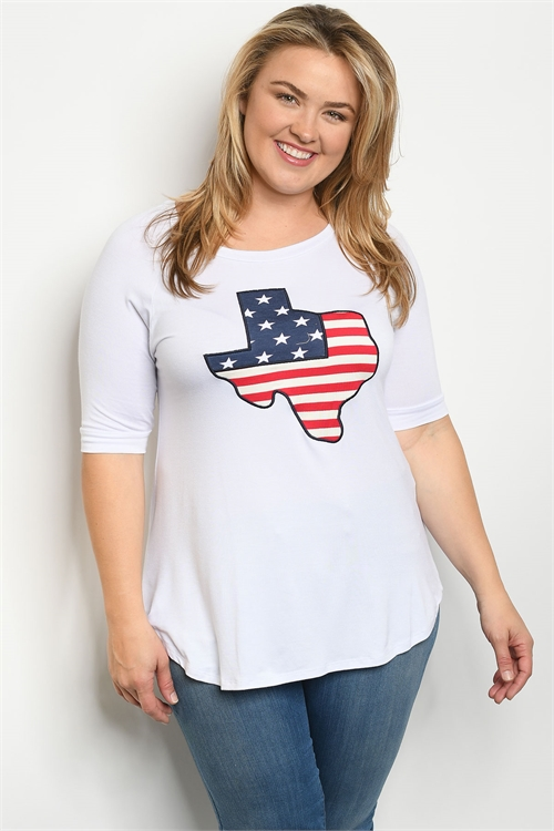 "C1-B-3-T4380X WHITE ""TEXAS"" PATCH PLUS SIZE TOP 2-2-2"