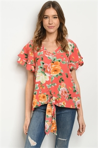 C49-A-1-T51481A CORAL FLORAL TOP 3-2-2