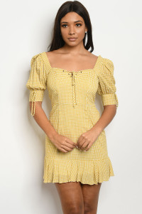 S11-13-4-D2888 MUSTARD CHECKERED DRESS 3-2-1