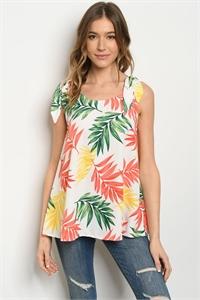 C54-B-3-T51369A OFF WHITE WITH LEAVES PRINT TOP 2-2-2