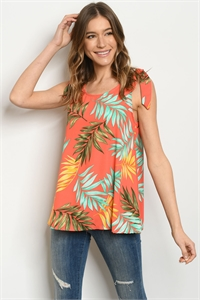 C53-B-1-T51369A CORAL WITH LEAVES PRINT TOP 2-1-2