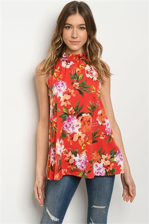 C60-A-2-T30991A RED FLORAL TOP 2-2-2