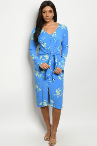 S15-5-3-D2570 AQUA WITH FLOWER PRINT DRESS 3-2-1