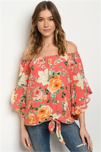 C89-A-2-T51374G CORAL FLORAL TOP 2-2-2