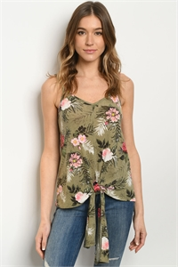 C97-A-1-T51450D OLIVE WITH FLOWER PRINT TOP 3-2-2