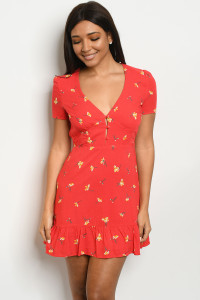 S15-5-1-D3275 RED WITH FLOWER PRINT DRESS 3-2-1-1