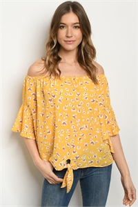C83-A-4-T30371R YELLOW LEOPARD PRINT TOP 2-2-2