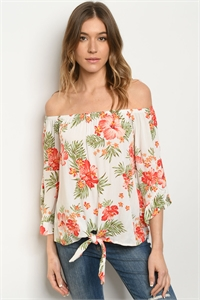 C87-A-1-T51374H OFF WHITE FLORAL TOP 2-2-2
