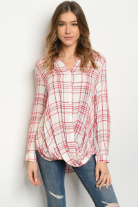 S18-4-3-T180822 RED CHECKERED TOP 3-3
