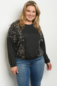 C29-A-4-T51809X CHARCOAL ANIMAL PRINT PLUS SIZE TOP 2-2-2
