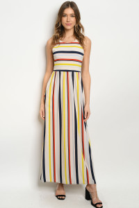C35-A-6-D26406 SAND MULTI STRIPES DRESS 2-2-2