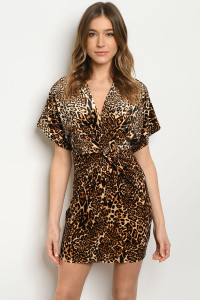 C17-A-6-D93922 BLACK TAUPE ANIMAL LEOPARD PRINT DRESS 3-2-1