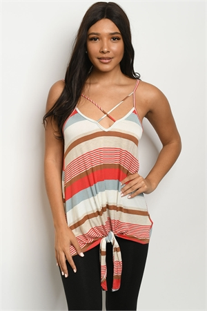 C43-A-2-T9170 RED BROWN STRIPES TOP 2-2-2