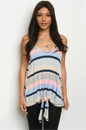 C43-A-3-T9170 BLUE PEACH STRIPES TOP 2-2-2