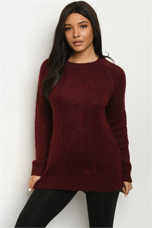 S23-13-1-S5504 BURGUNDY SWEATER 2-2-2