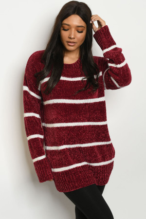 S16-1-2-S5142 BURGUNDY IVORY STRIPES SWEATER 2-2-2