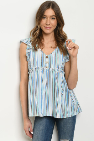 C53-B-2-T51352B BLUE MULTI STRIPES TOP 2-2-2