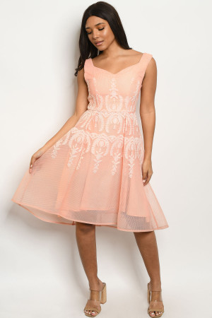 S8-13-2-D2146 PEACH WHITE EMBROIDERY DRESS 2-2-2