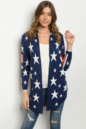 S18-1-3-C19094 NAVY WITH STARS PRINT CARDIGAN 3-3