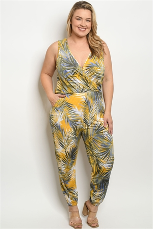C67-A-1-J1259X MUSTARD OLIVE WITH LEAVES PRINT PLUS SIZE JUMPSUIT 2-2-2