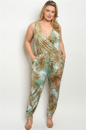 C67-A-2-J1259X GREEN RUST WITH LEAVES PRINT PLUS SIZE JUMPSUIT 2-2-2