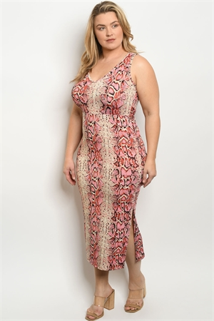 C69-A-2-D3150X PINK SNAKE ANIMAL PRINT PLUS SIZE DRESS 2-2-2