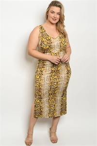 C73-A-3-D3150X YELLOW SNAKE ANIMAL PRINT PLUS SIZE DRESS 2-2-2
