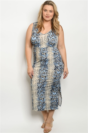 C77-A-2-D3150X BLUE SNAKE ANIMAL PRINT PLUS SIZE DRESS 2-2-2