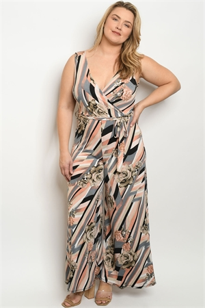C81-A-2-J3131X GRAY PEACH WITH ROSES PRINT PLUS SIZE JUMPSUIT 2-2-2