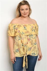 S18-13-4-T5164X YELLOW FLORAL PLUS SIZE TOP 2-2-2