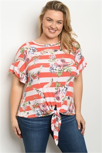 S19-11-4-T5161X RED STRIPES FLORAL PLUS SIZE TOP 2-2-2