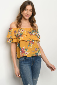 C62-B-5-T61632 MUSTARD FLORAL TOP 2-2-2