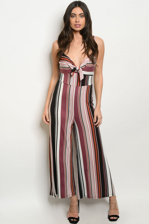 C92-A-3-J6753 BLACK MAUVE STRIPES JUMPSUIT 3-2-1