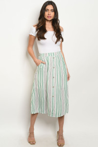 C86-A-2-S20631 GREEN WHITE STRIPES SKIRT 2-2-2