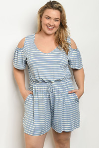 S10-19-5-R6003X BLUE STRIPES PLUS SIZE ROMPER 2-2-2