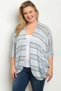 S11-9-4-C7004X BLUE STRIPES PLUS SIZE CARDIGAN 2-2-2