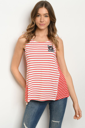 S22-5-4-T2007 RED IVORY STRIPES TOP 2-2-2