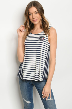 S19-11-2-T2007 NAVY IVORY STRIPES TOP 2-2-2