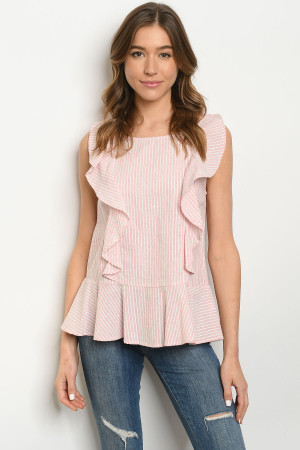 S22-12-2-T2055 PINK STRIPES TOP 2-2-2