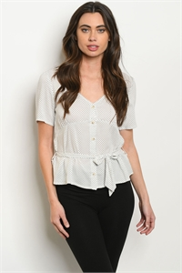 S19-11-2-T2746 WHITE WITH DOTS TOP 2-2-2