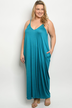 S13-7-3-D5883X TURQUOISE PLUS SIZE DRESS 2-2-2