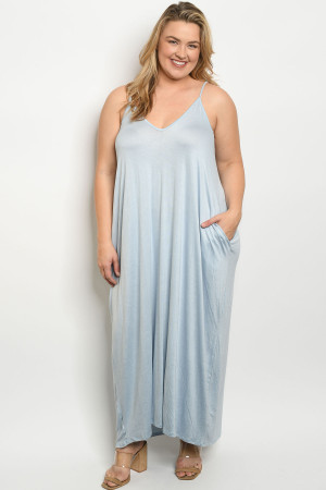 S13-7-2-D5883X BLUE PLUS SIZE DRESS 2-2-2