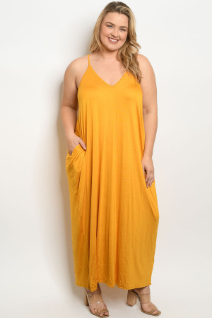 S14-6-2-D5883X MUSTARD PLUS SIZE DRESS 2-2-2